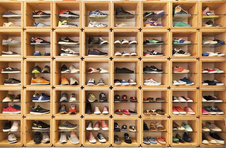 Overwhelming display of shoes