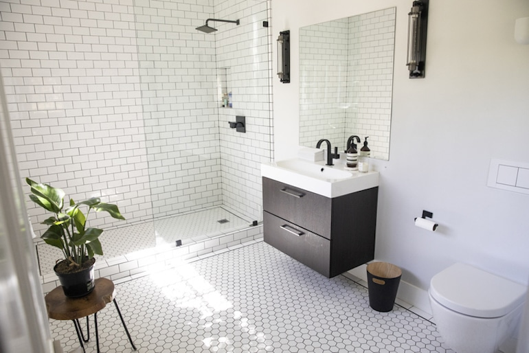 A bright and empty bathroom, a good setting to pass different types of poop
