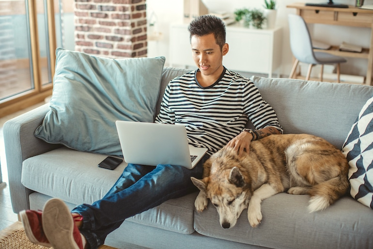 Man organizing his emails at home on his laptop, petting his dog