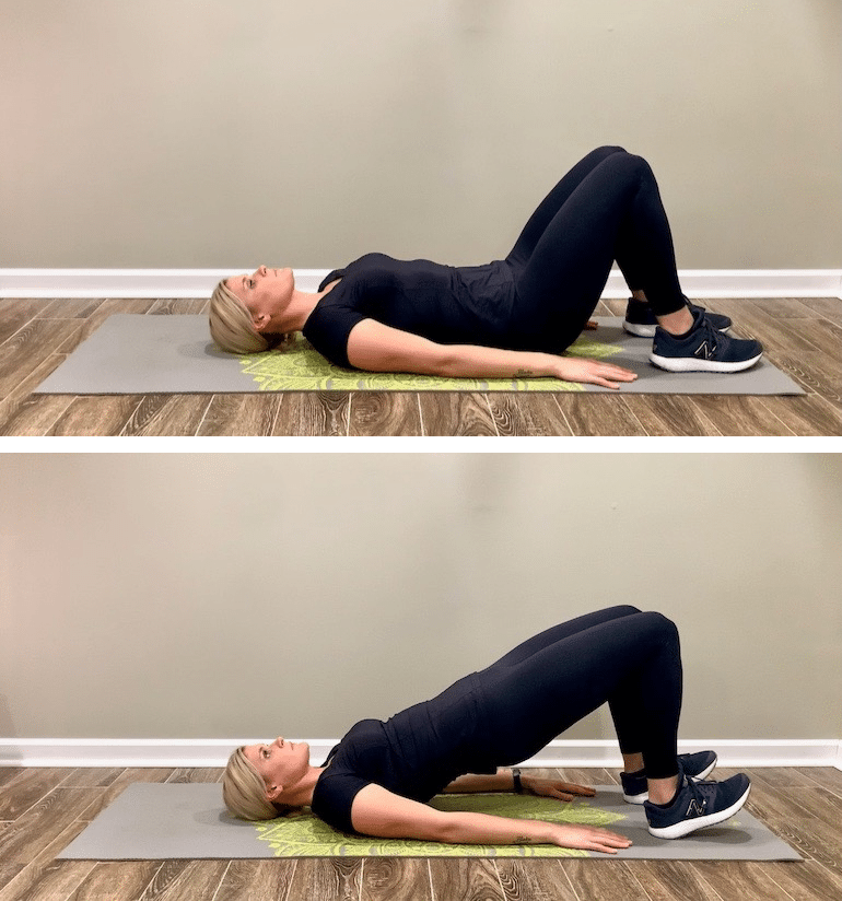Certified personal trainer doing glute bridges to strengthen core