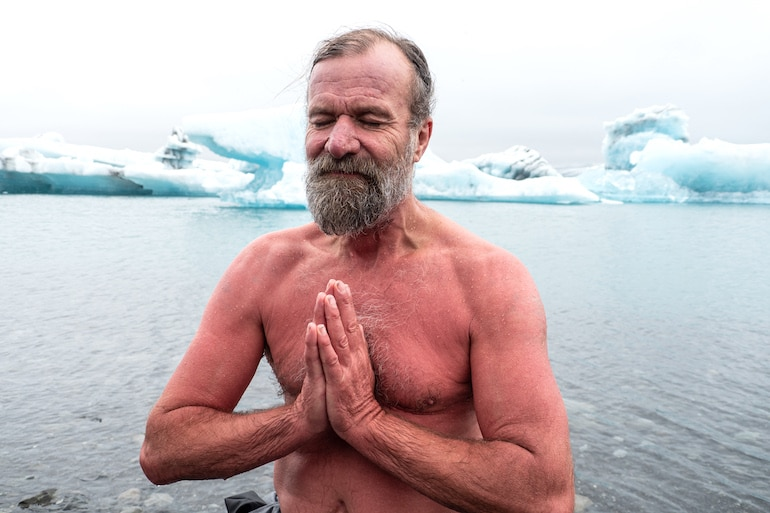 Wim Hof meditating and practicing the Wim Hof breathing method