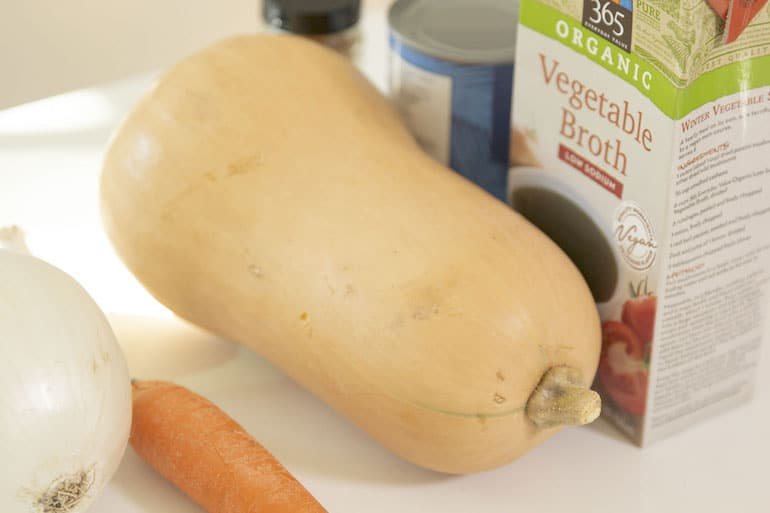 Best butternut squash variety next to ingredients for a healthy vegan butternut squash soup recipe