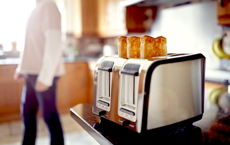 Toast in toaster as part of the BRAT Diet