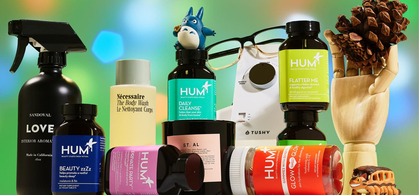 Beauty and wellness gifts recommended by Team HUM for 2020 in front of bright green background