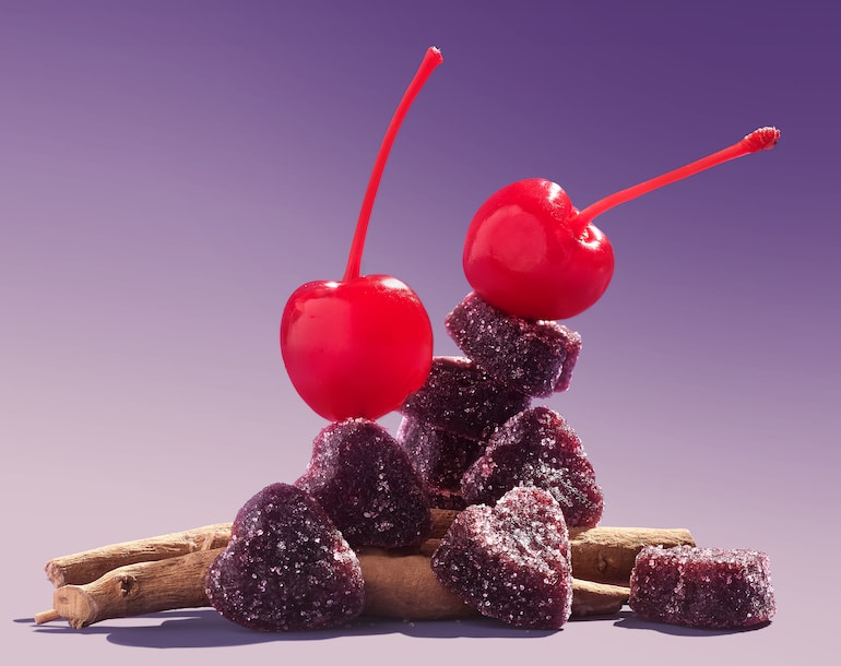 Calm Sweet Calm sour stress gummies with ashwaghanda root and cherry