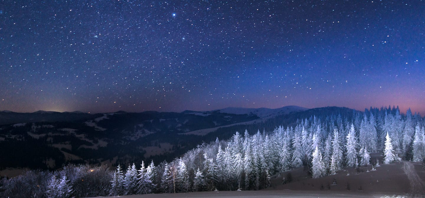 Starry sky around December holidays for astrology and horoscope concept