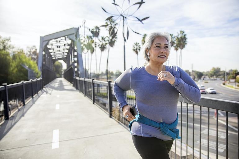 Senior woman exercising for health