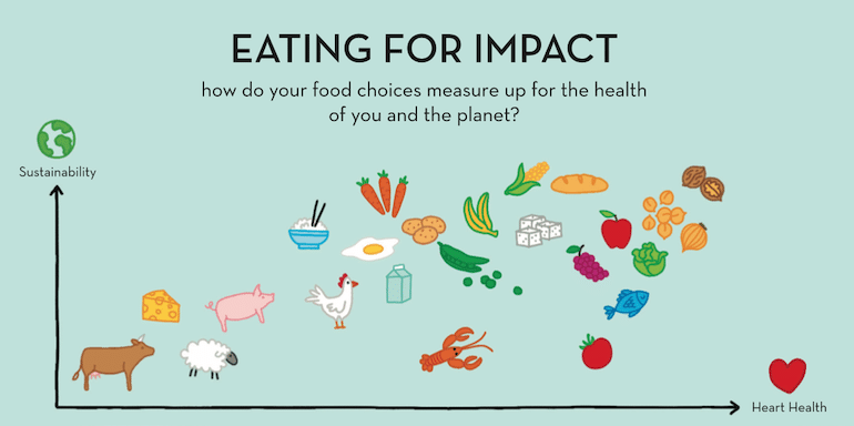 Illustrated chart of how certain foods impact the environment and heart health