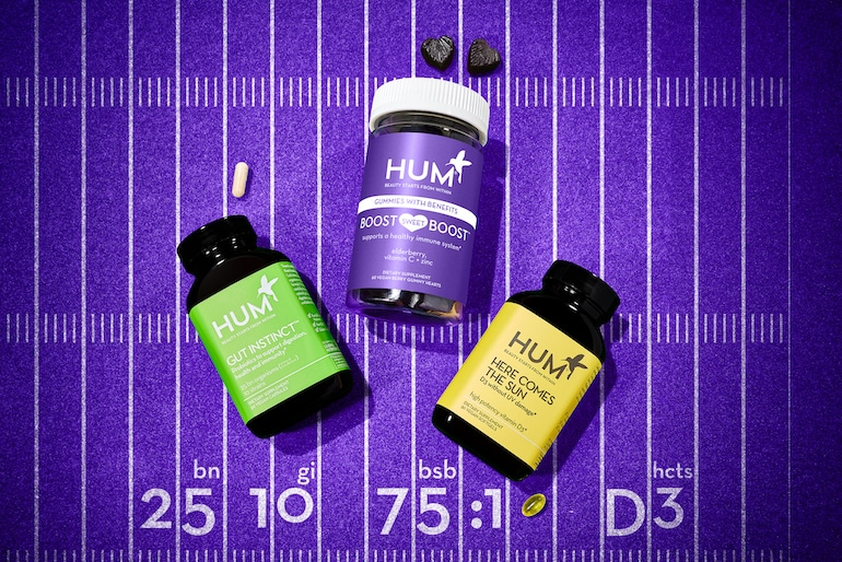 Suplementos de HUM para el apoyo inmunológico que incluyen gomitas Boost Sweet Boost, probióticos Gut Instinct y Here Comes the Sun vitamina D