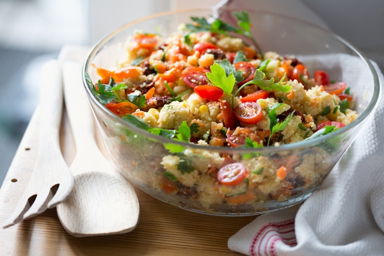 Couscous, tomatoes, and fresh veggies to eat for immune support