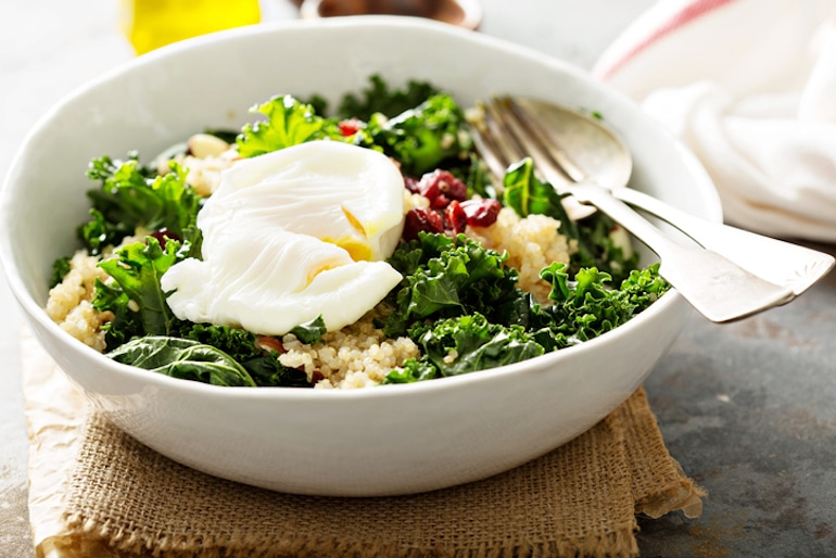 Kale salad with egg, the latter of which is a high-collagen food