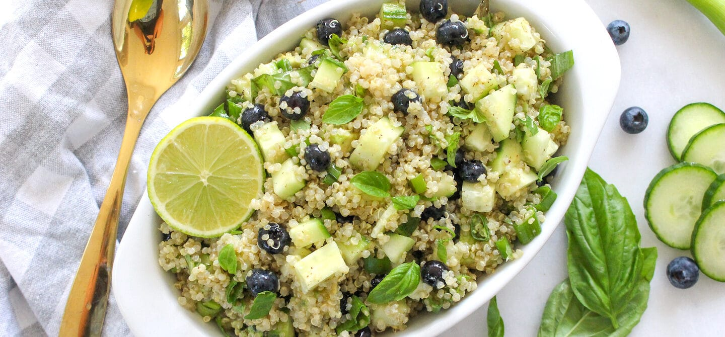 Summer quinoa salad recipe by registered dietitian Chelsey Amer