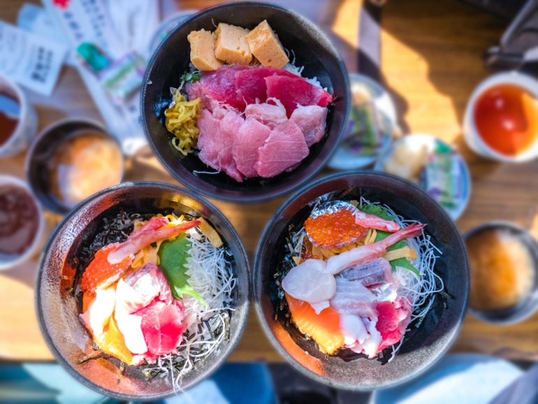 3 poke rice bowls featuring fresh, sustainable seafood options