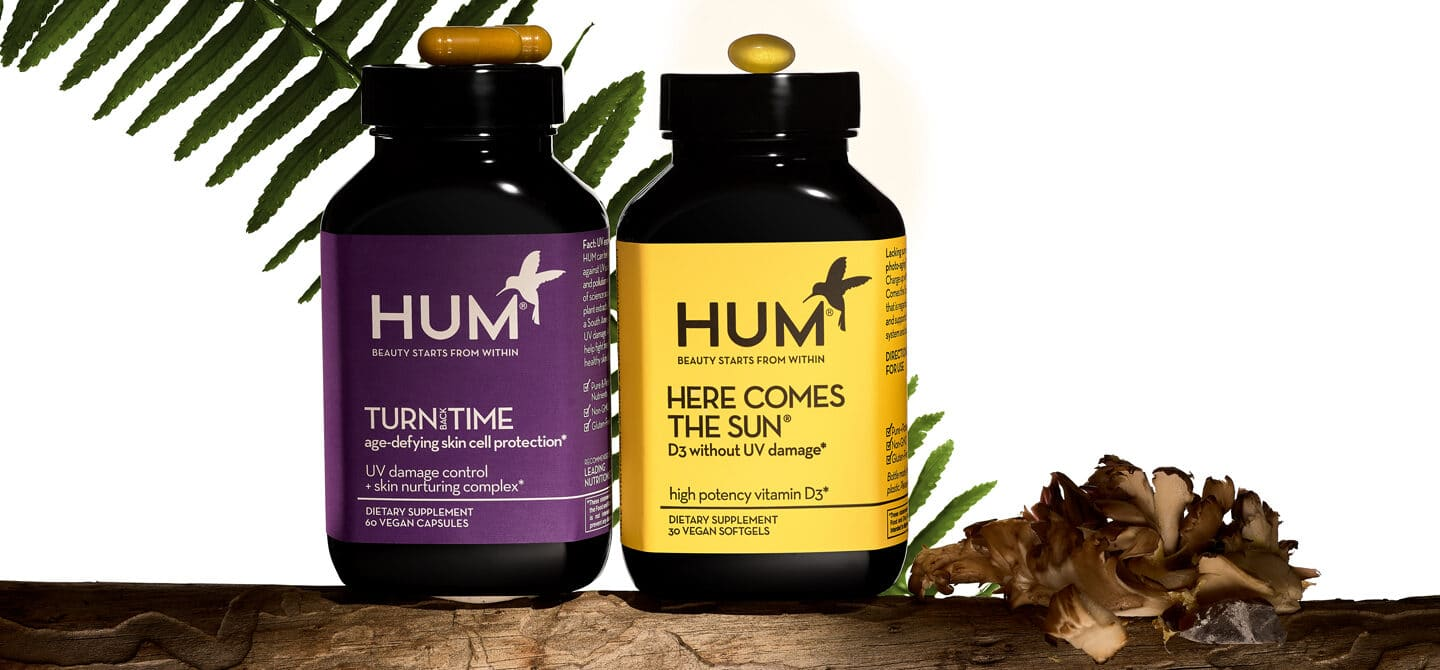 HUM Nutrition Turn Back Time and Here Comes the Sun supplements, which are suited for sun and skincare