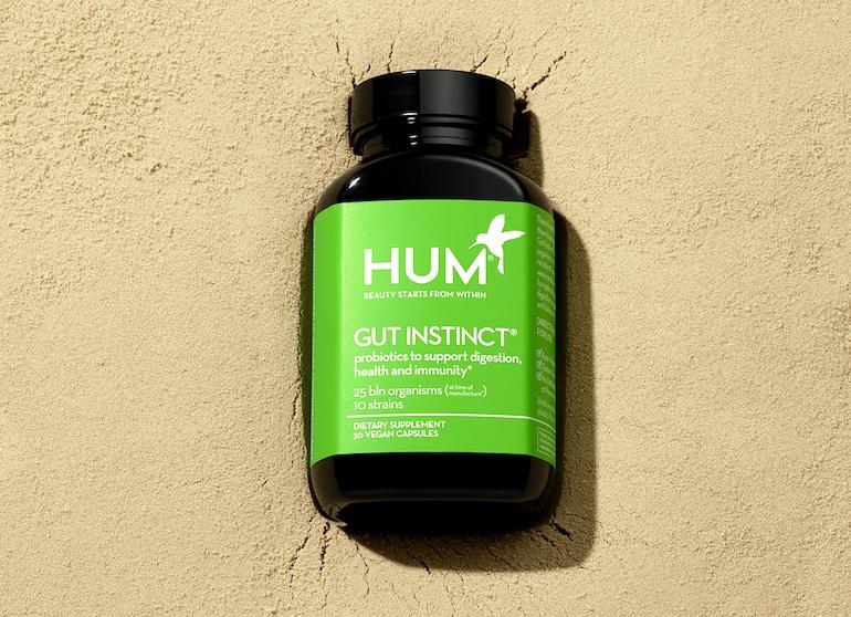 HUM Gut Instinct probiotic in a sustainable ocean-bound plastic bottle