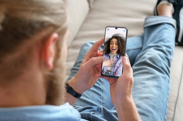 man video calling woman